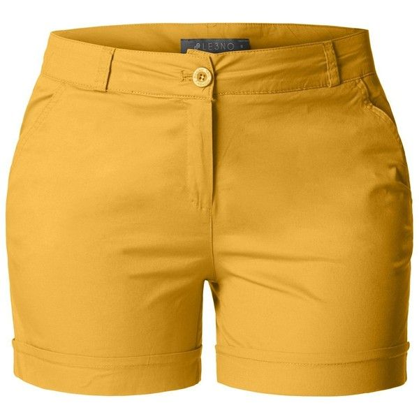 LE3NO Womens Plus Size Casual Cotton Chino Shorts with Pockets ($23) ❤ liked on Polyvore featuring shorts, women's plus size shorts, pocket shorts, plus size shorts and chino shorts