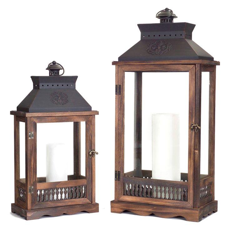 Melrose International Wood Traditional Lantern - Set of 2 - 66815