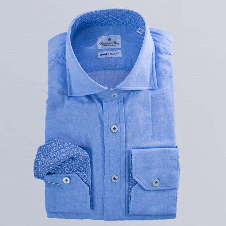 Emanuel Berg  solid print cotton shirt  PERFECT DRESS SHIRT LUXURY SLIM FIT