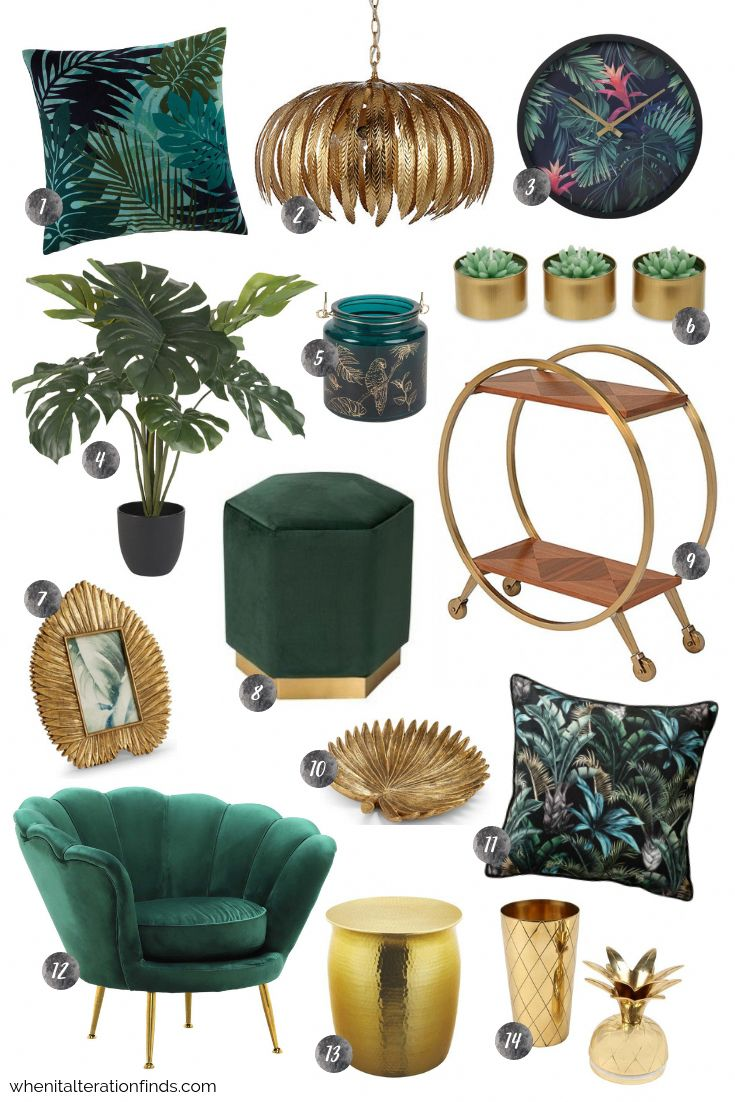 Green and gold living room | Tropical velvet luxury home decor ideas | When It Alteration Finds #homedecorideaslivingroom