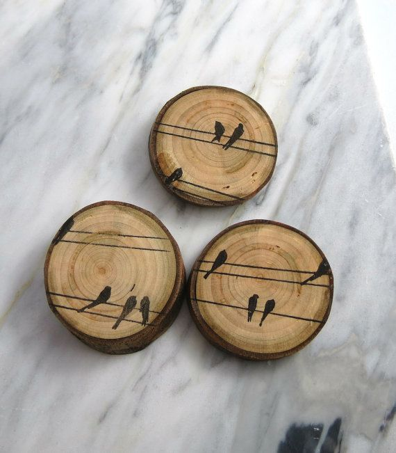 Pretty wedding favour - Magnet Wood Magnet Bird Wood Magnet Rustic Magnet by texturemix