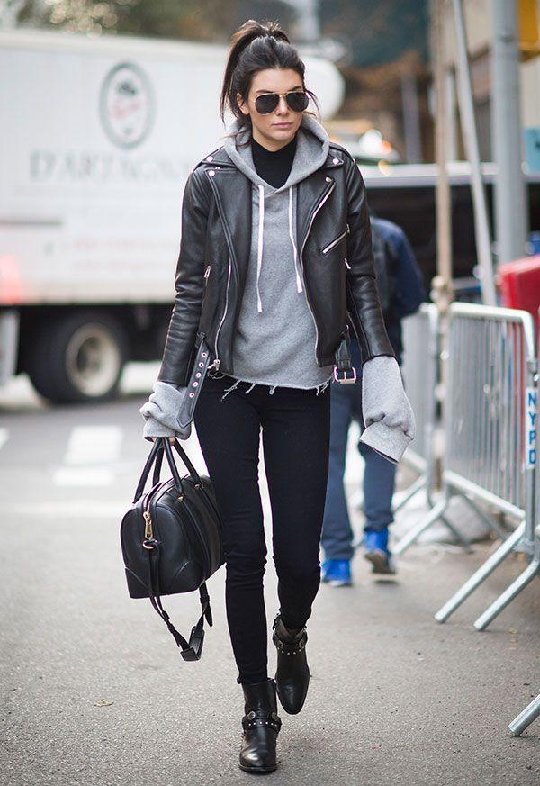 kendall jenner street style moletom com jaqueta couro