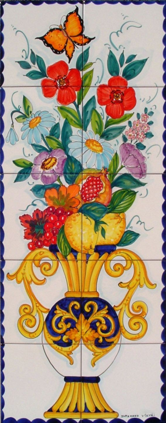 Hand Painted Tile Mural - Amphora Vase - Spring Decor - Floral Vase - Flower Vase - Vertical Wall Art - Backsplash Tiles
