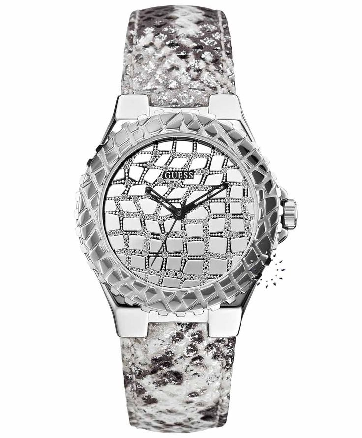 GUESS Crystal Ladies White Leather Strap Τιμή: 125€ http://www.oroloi.gr/product_info.php?products_id=35131
