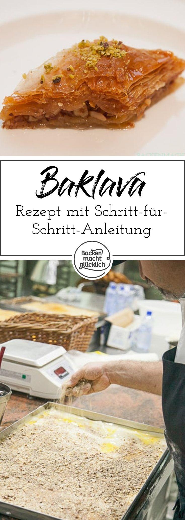 Original Baklava Rezept mit Schritt-für-Schritt-Anleitung. Baklava ist eine traditionelle Süßigkeit aus dem Mittelmeerraum und Nahen Osten. Als Füllung eignen sich alle Nusssorten wie Walnüsse oder Haselnüsse, außerdem Pistazien oder Mandeln.