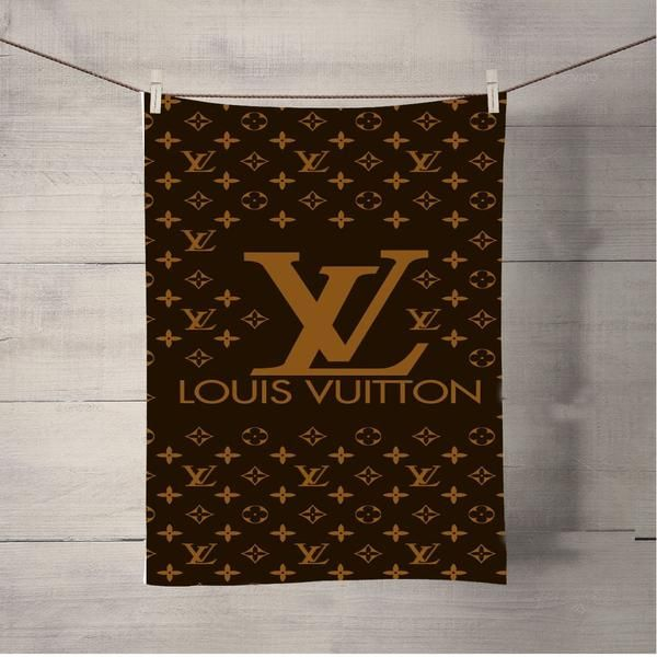 """Louis Vuitton Brown Pattern Bath Towel Beach Towels Medium Towel, White, 15"""" x 25"""", 55% Polyester on Imaging Side, 45% Plush Terrycloth Cotton on the other side (with label). – Solid White. Allow for a 1"""" dimensional tolerance when imprinting."""