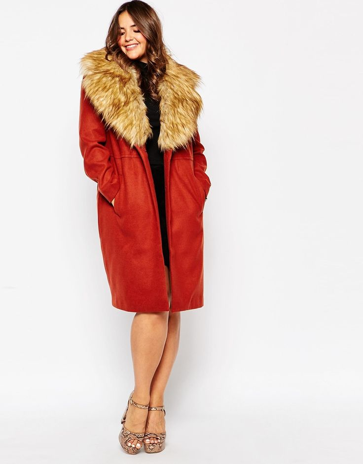 Image 4 of ASOS CURVE Midi Coat with Faux Fur Collar