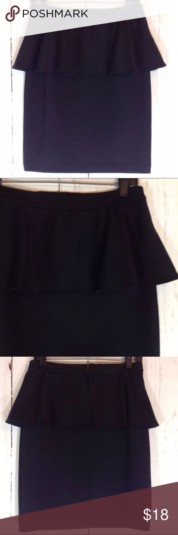 "Cynthia Rowley Black Peplum Skirt Size 4 Cynthia Rowley Black Peplum Ruffle Pencil Skirt Size 4 Hidden back zip  Approximate flat measurements:  Waist: 15"" Hips: 18.5"" Length: 21"" Cynthia Rowley Skirts Pencil"