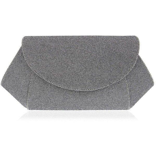 Nina Amitee Envelope Shoulder Bag (3.085 RUB) ❤ liked on Polyvore featuring bags, handbags, shoulder bags, silver, shoulder hand bags, shoulder strap handbags, nina handbags, silver purse and nina purses