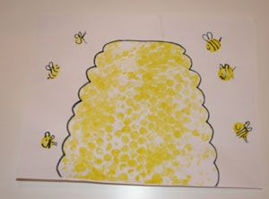 bubble wrap beehive & use thumbprints to make honey bees & big ol' lazy bumblebees :))))
