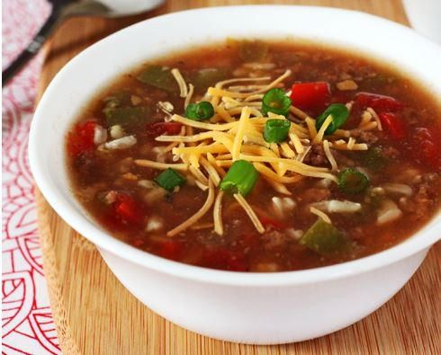 Slow Cooker Stuffed Bell Pepper Soup | Try this great soup for the fall!