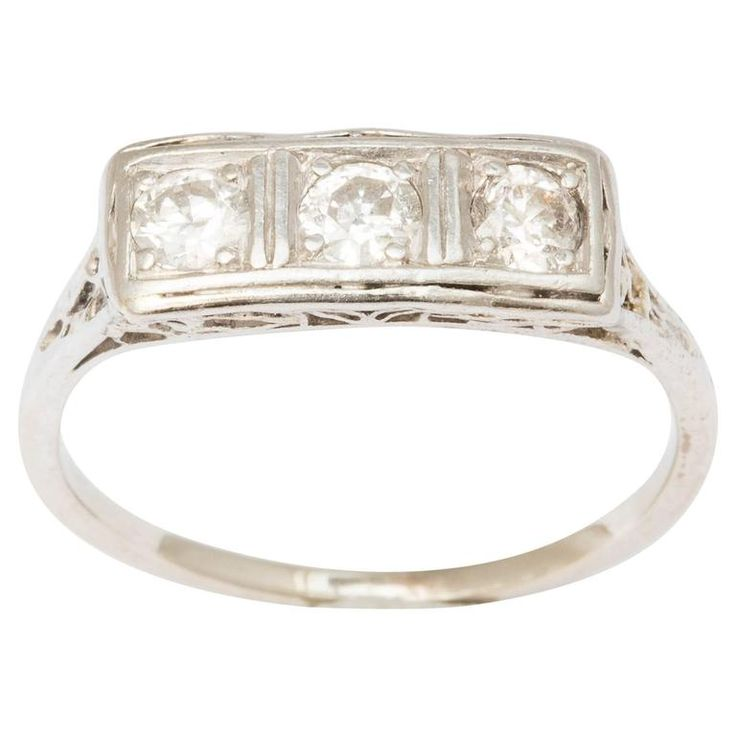 Art Deco Diamond Gold Band Ring | From a unique collection of vintage three-stone rings at https://www.1stdibs.com/jewelry/rings/three-stone-rings/