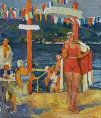 'Ferdinand' Franz Engelbert Dorsch (1875-1938) Café at the beach, South-Germany, oil on canvas. Collection Simonis & Buunk, The Netherlands