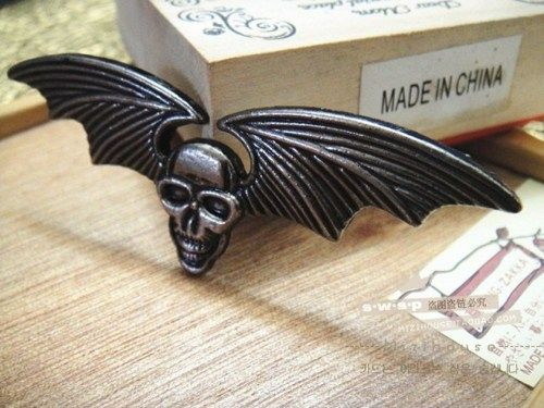 skull with bat wings alloy pendant diy bling phone deco  | chriszcoolstuff - Craft Supplies on ArtFire