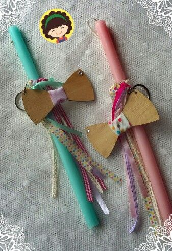 Easter candle wooden bow