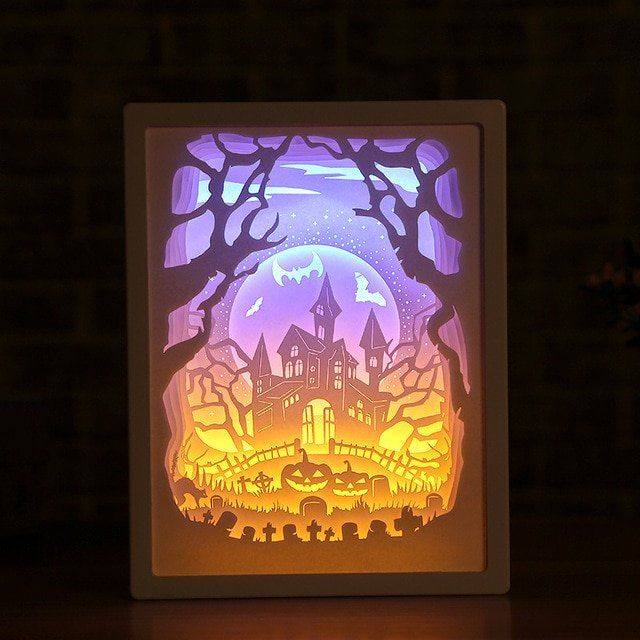 3d Paper Carving Night Lights Paper Carving Night Lights In 2020 Paper Carving 3d Paper Paper Decorations