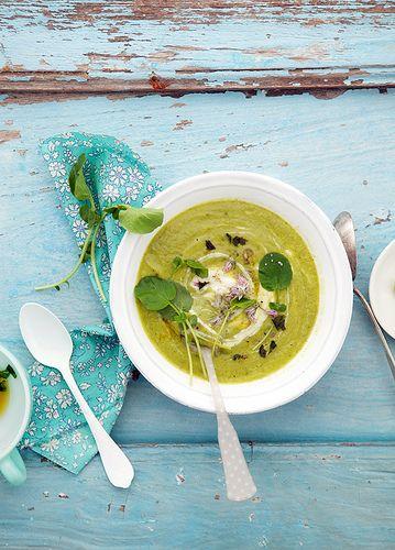 pea, zucchini and watercress soup