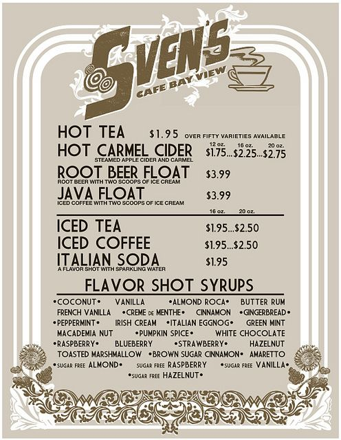 SVEN'S CAFE menu board example one by MATTY™, via Flickr