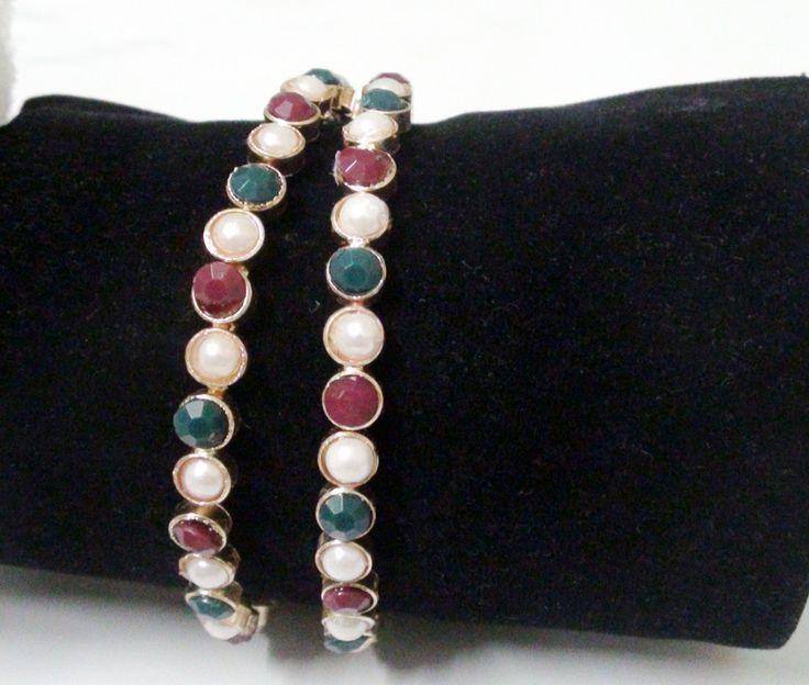 Buy PEAL & BEAD BANGLE at Rs. 130 only..visit here- http://shwetajewelry.com/product/peal-bead-bangle/
