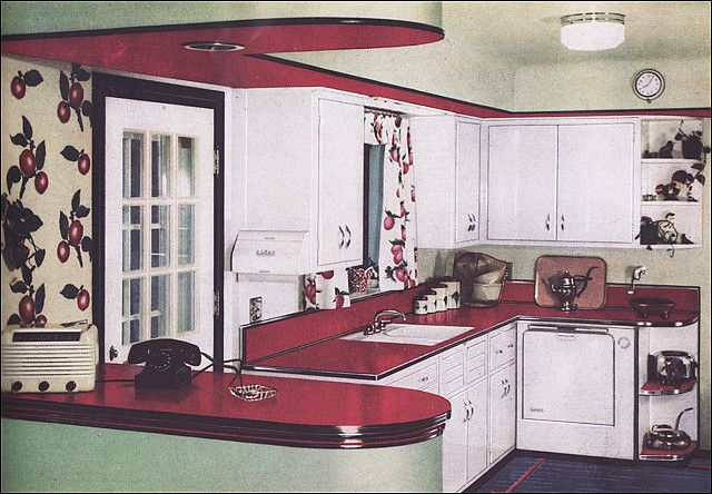 1950 Formica Kitchen by American Vintage Home, via Flickr. This is like my kitchen, same rounded lines and even the same shelf and handles!