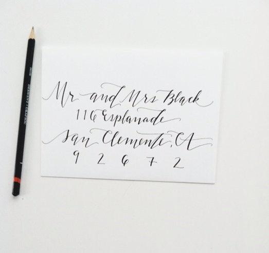 Hand calligraphy envelope addressing thuy amp stanley pinterest