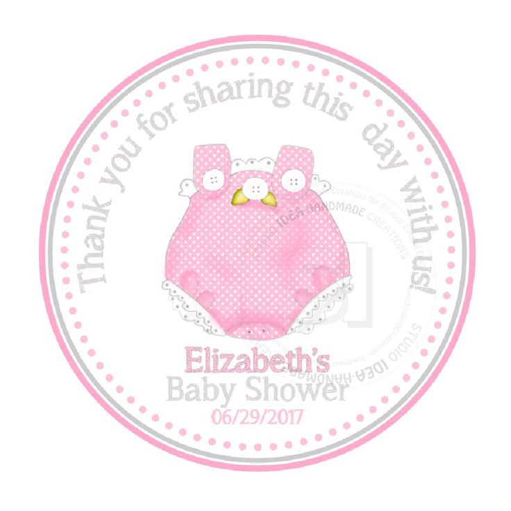 "Custom cute pink baby Onesie Baby Shower Thank you Printable 2.5"" Tags-Personalized  thank you 2.5 inches Tags-It's a Girl baby Shower  DIY Favor Tags"