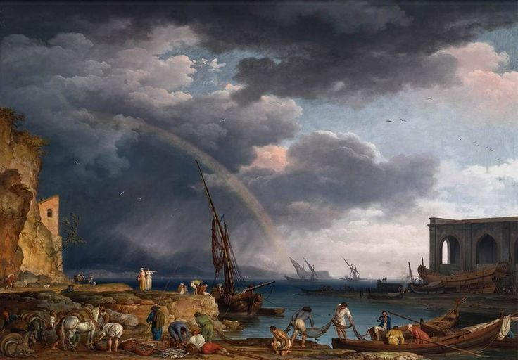 VERNET, Claude-Joseph Coastal View with a Rainbow 1749 Oil on canvas, 114 x 163 cm Private collection