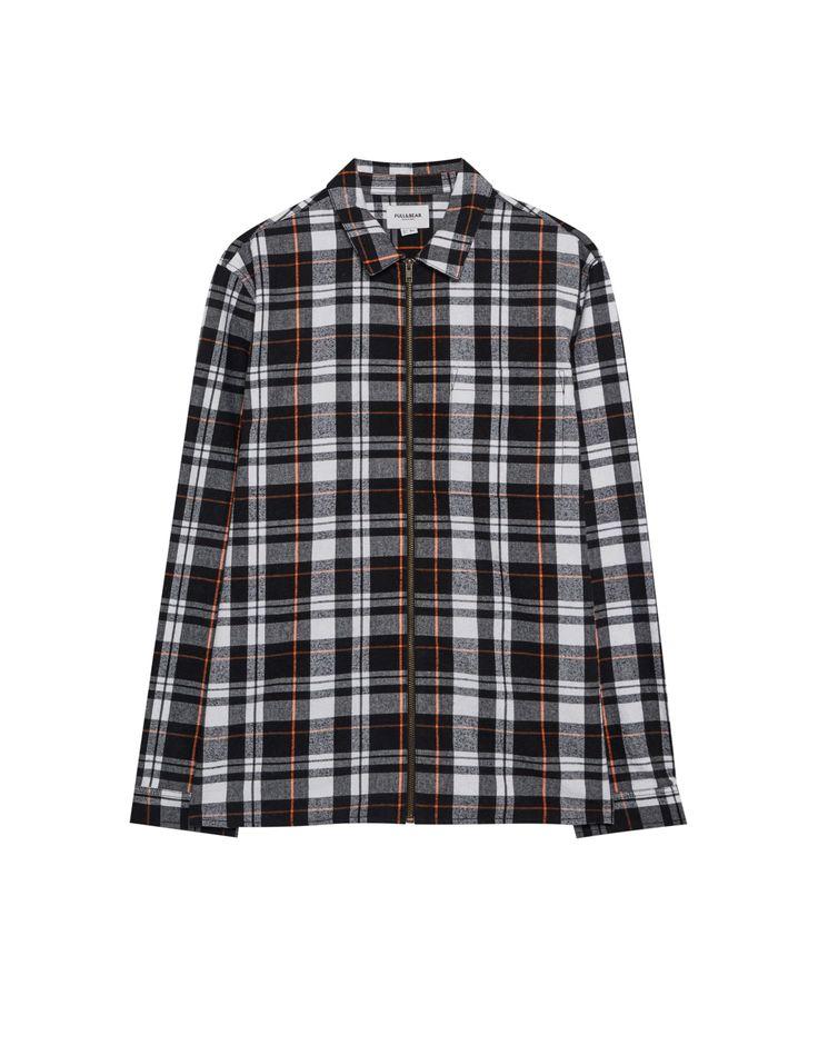 Camisa cuadros cremallera - Camisas - Ropa - Hombre - PULL&BEAR España