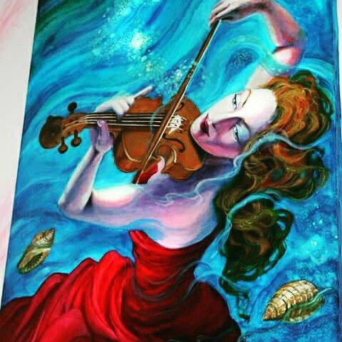 Dipinto mare violino Vera Rso