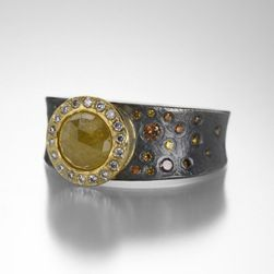 Wide Band with Yellow and Autumn Diamonds,Todd Reed