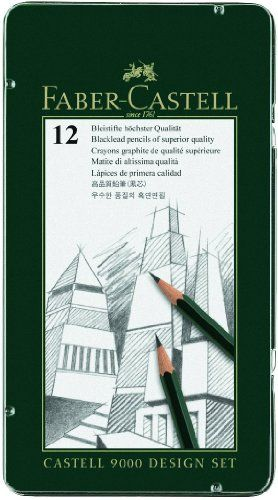 #Faber Castell-9000 Graphite Pencil Set In Metal Tin. These pencils are ideal for graphic design exact lines and details. #Easy to sharpen and erase. This package...