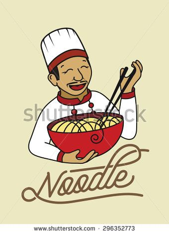 Noodles character, funny oriental chef