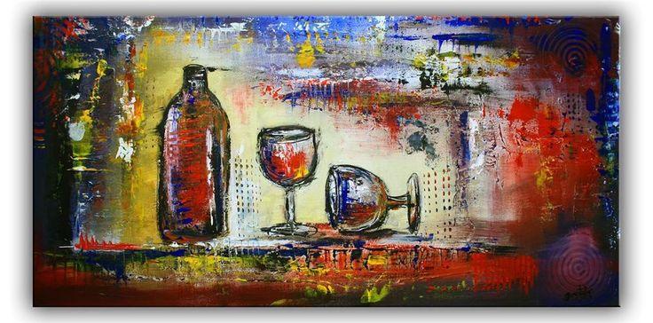 BURGSTALLER ORIGINAL Gemälde handgemalte Bilder abstrakte Malerei Wein Gläser