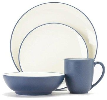 Noritake Colorwave Blue 4-piece Coupe Shape Place Setting - contemporary - dinnerware sets - Overstock.com