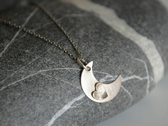 Moon and Heart Sterling Silver Pendant Necklace by Kosmika on Etsy