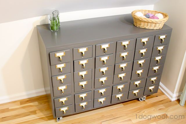 Organize Crafts or Stationary: Refinished Card Catalog
