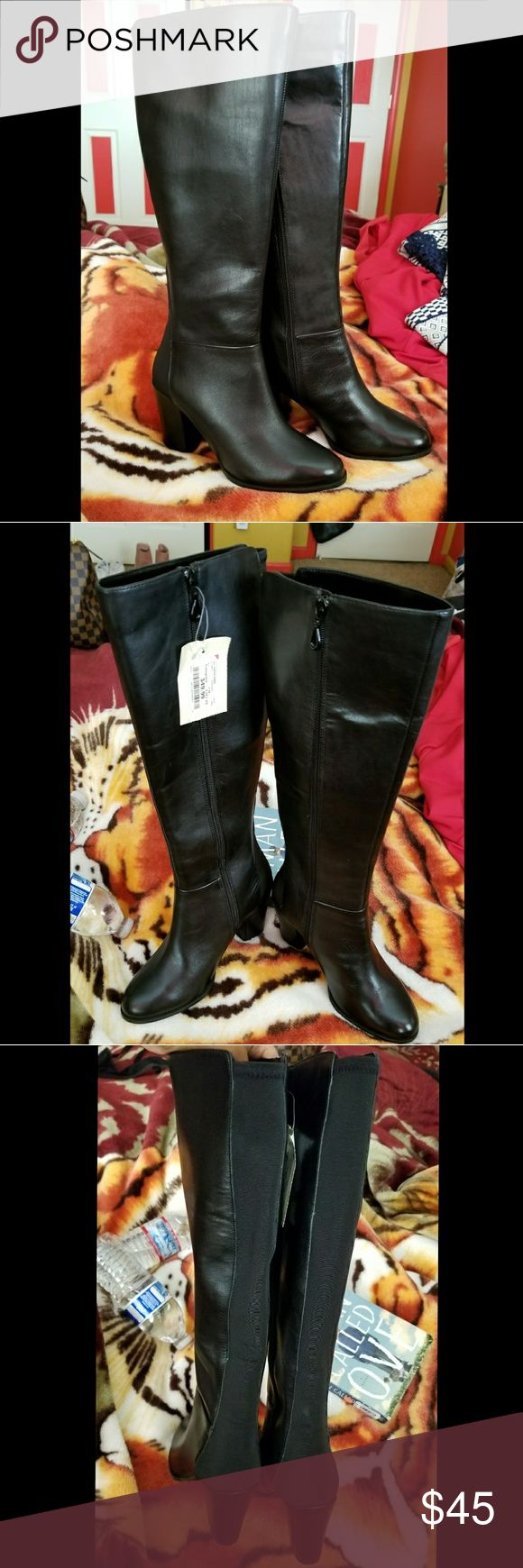 Black Faux Leather Boots Brand New Black boots with block heels from Burlington Coat Factory. Has a zipper and also stretchy material on the back side for wider calves. Offers and questions welcomed. Shoes Heeled Boots