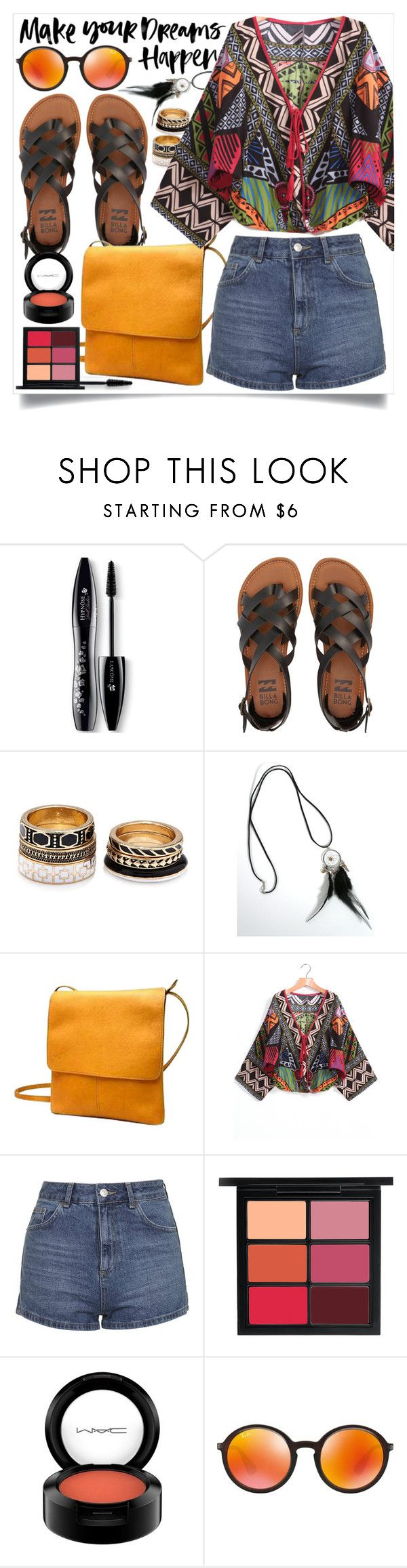 """""""make your dreams happen"""" by ailav9 ❤ liked on Polyvore featuring Lancôme, Billabong, Forever 21, Le Donne, Topshop, MAC Cosmetics and Ray-Ban"""