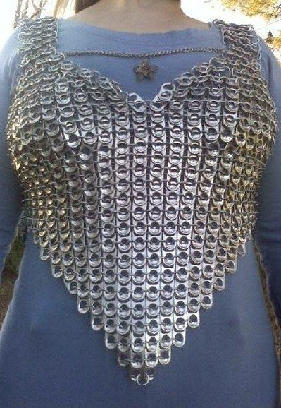 "Diy soda tab corset tutorial - would be cute designed as a ""chain-mail"" vest for dress-up play for the grand sons."