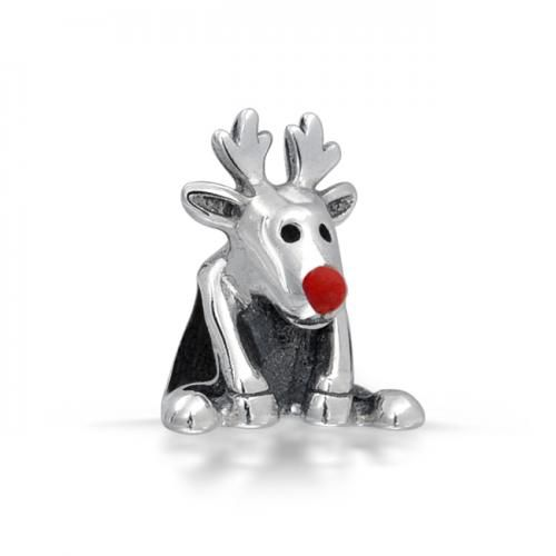 925 Silver Adorable Rudolph Red Nose Reindeer Bead Charm Fits Pandora