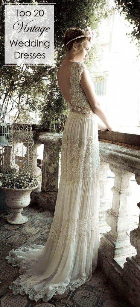 low back sequins vintage wedding dresses