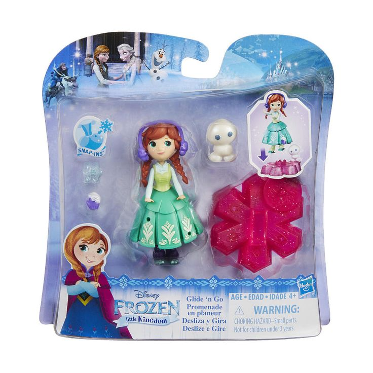 Little girls can play out their own fun inspired by Disney's Frozen with Glide 'n Go Anna and her magical snowflakes. Attach Anna and her Snowgie friend to the included snowflake and help her glide across the table. The fun doesn't stop there the Snowgie spins as the doll glides! Also available is Glide 'n Go Elsa (sold separately). Girls can attach the snowflake bases for double the fun! They can also decorate their Anna doll with mix and match Snap-ins pieces and outfits fro...