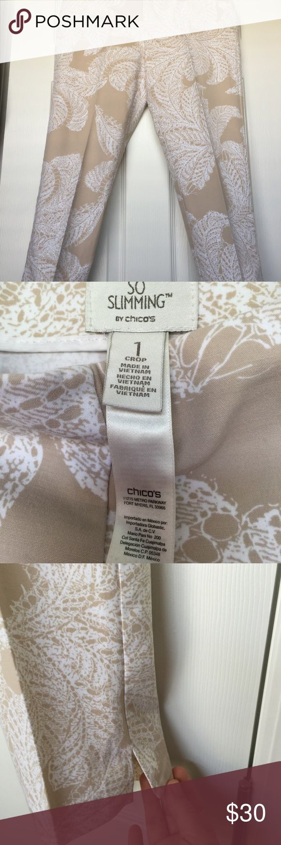 Chico's SoSlimming Nuetral Color Crop Pants size 1 These tan and white patterned Nuetral colored crop are the perfect three season pants.  Great for spring, summer and fall!  Side zipper makes tummy look flatter! Chico's Pants Ankle & Cropped