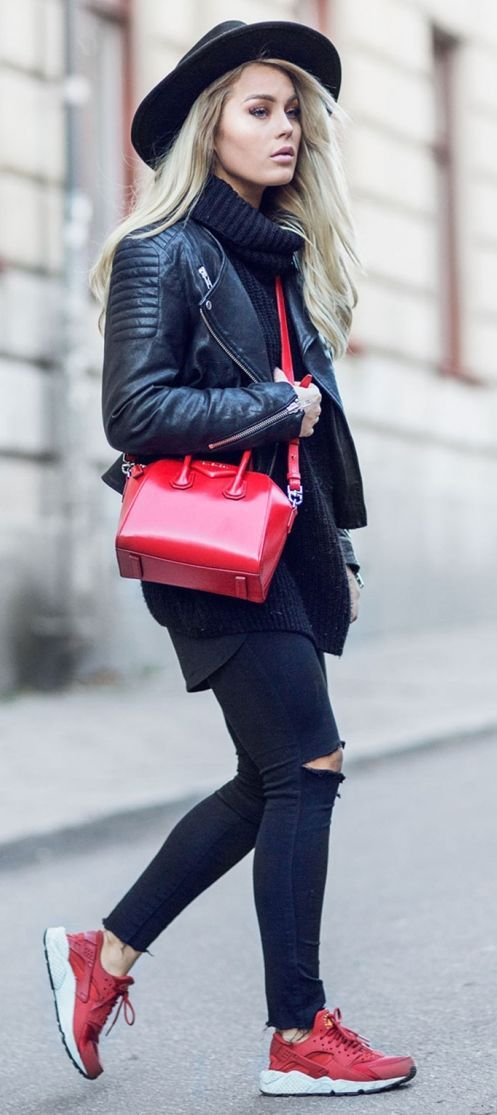 Pop Of Red With Black Fall Street Style Inspo by Angelica Blick