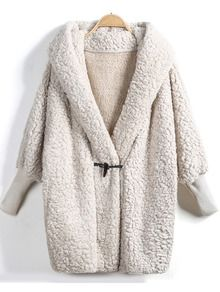 Apricot Hooded Batwing Long Sleeve Loose Coat