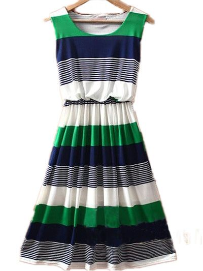 $30.88 Green Round Neck Sleeveless Striped Mid Waist Dress