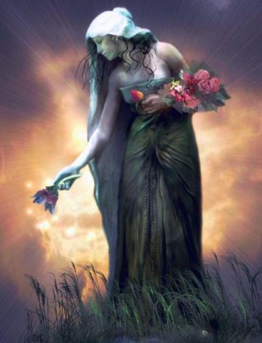 Tailtiu - Irish Goddess of the month August and Midsummer. She is largely viewed as a goddess of the earth, sovereignty, harvest, and first grains, particularly of wheat.