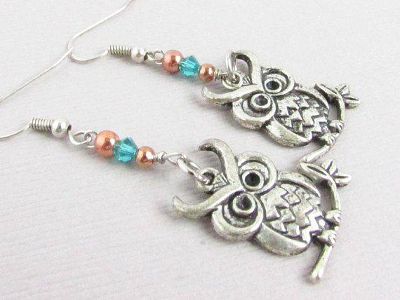 Owl Earrings, Dangle Owl Earrings, Silver Owl Earrings, Dainty Owl Earrings, Owl Jewelry, Owl Lover Gift, Owl Dangle Earring, Drop Earrings