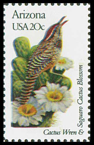 1982 20c Arizona State Bird & Flower - Catalog # 1955 For Sale at Mystic Stamp Company