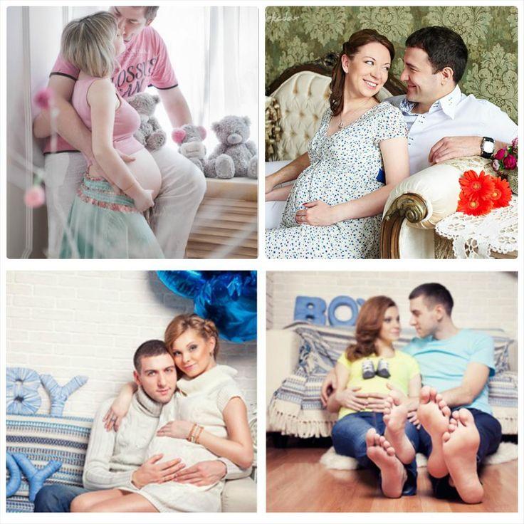 фотосессии беременных с мужем в студии